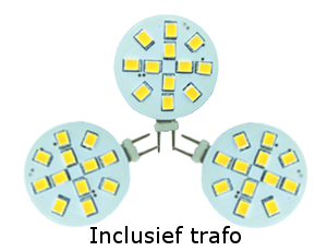 Set 3 x led G4, 2W vervangt 20W, incl. trafo