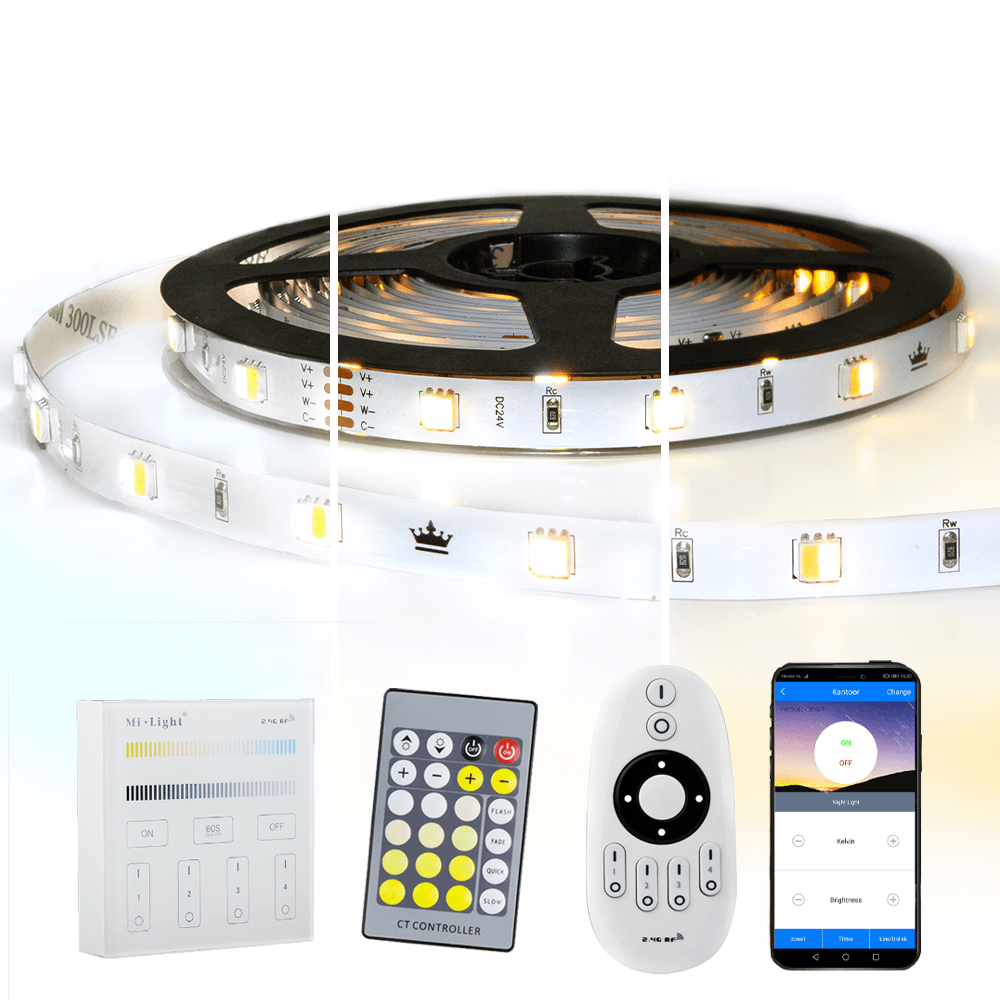 17 meter Dual White led strip complete set - Basic 1020 leds