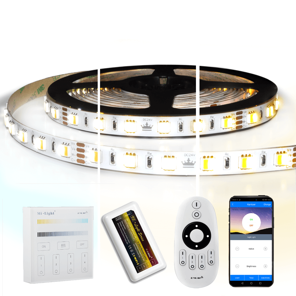 12 meter Dual White led strip complete set - Premium 1440 leds