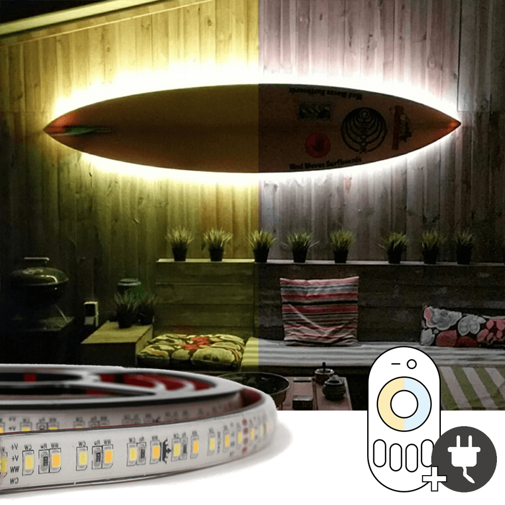 3 meter Dual White led strip voor buiten complete set