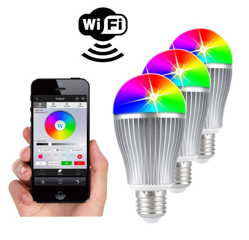 3 RGBW WIFI LED lampen set 9 Watt E27