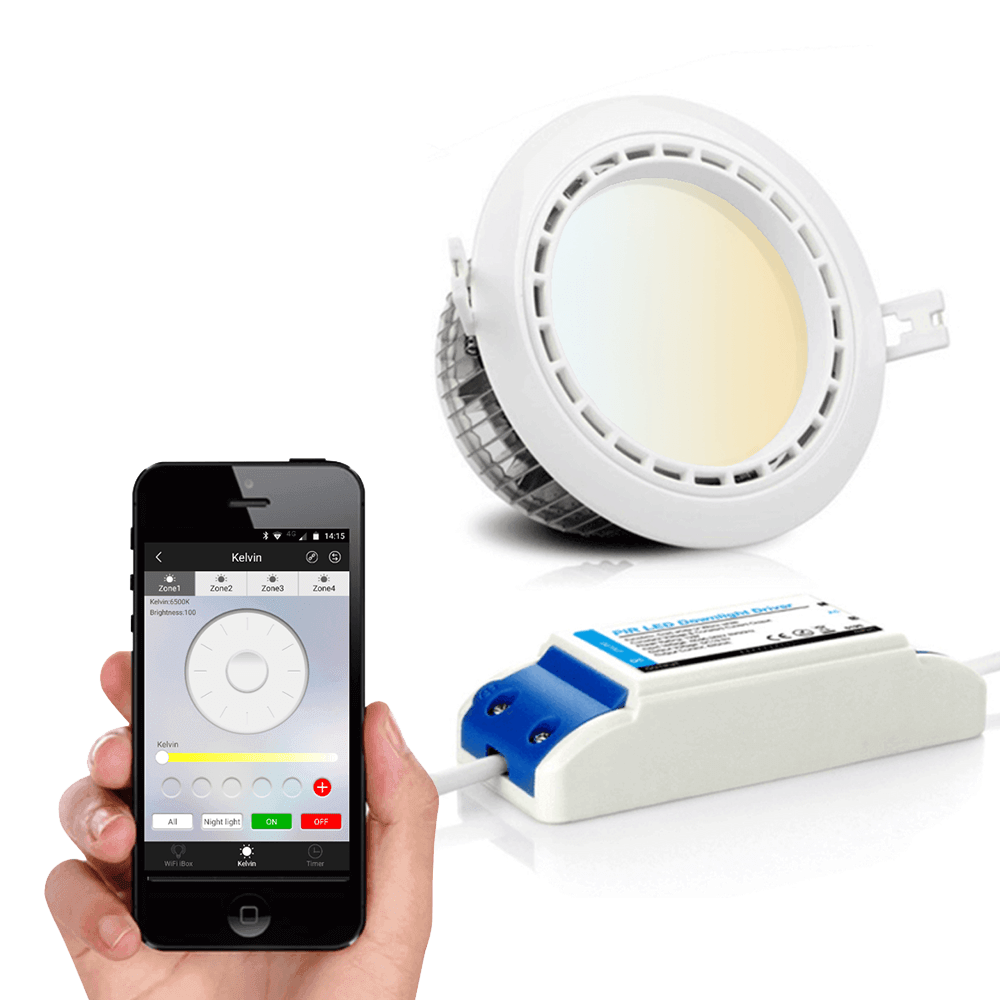 Milight Downlight set Dual White mt Wifi module 6 watt