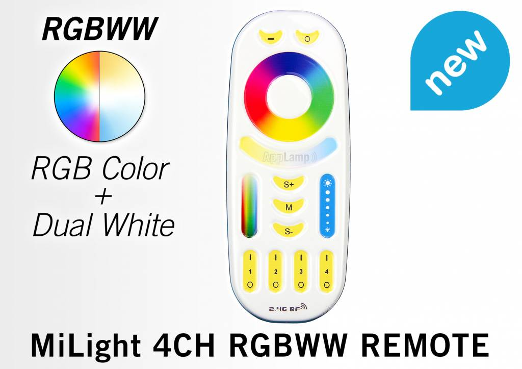 Mi·Light Touch Remote RGB+CCT (Dual White) Mi-Light RGBWW met 4-kanalen