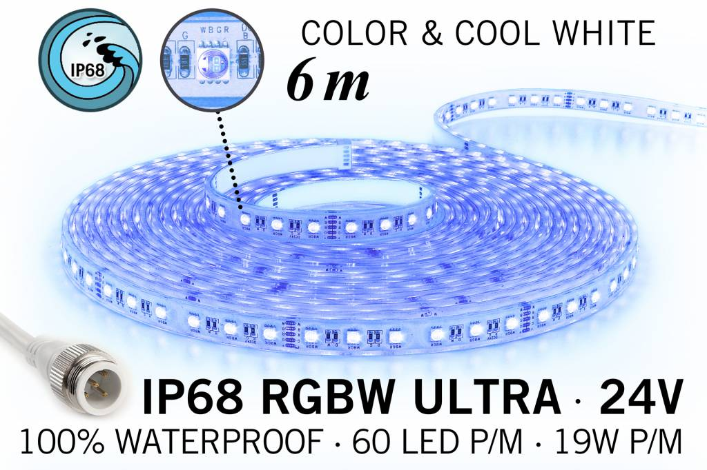 RGB & Koel Wit IP68 Waterdicht Ultra 4 in 1 Led Strip | 6m 60 Leds pm 24V