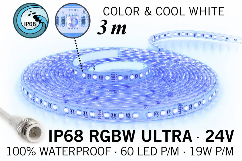 RGB & Koel Wit IP68 Waterdicht Ultra 4 in 1 Led Strip | 3m 60 Leds pm 24V