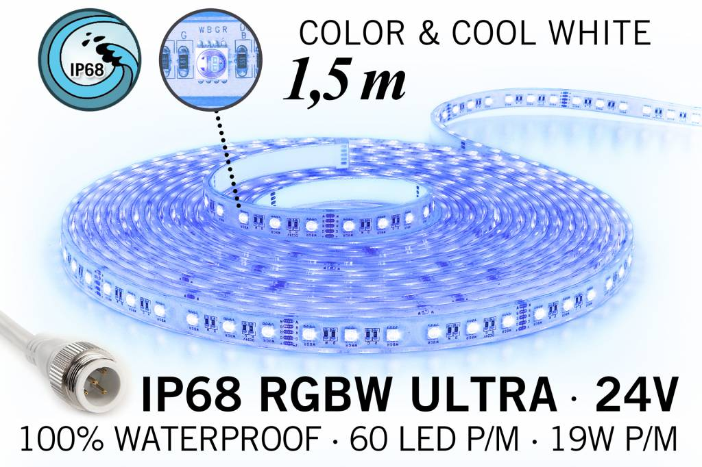 RGB & Koel Wit IP68 Waterdicht Ultra 4 in 1 Led Strip | 1,5m 60 Leds pm 24V