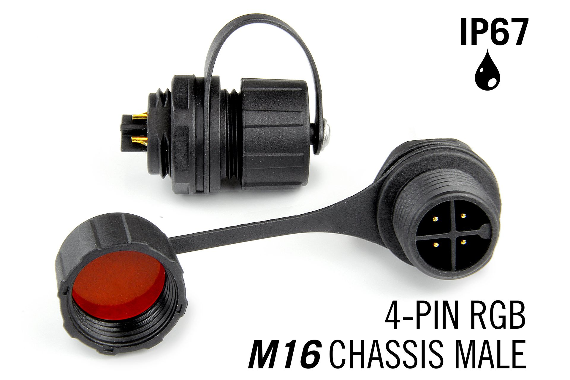 M16 4pin Male IP67 Waterdichte Chassis Connector - RGB