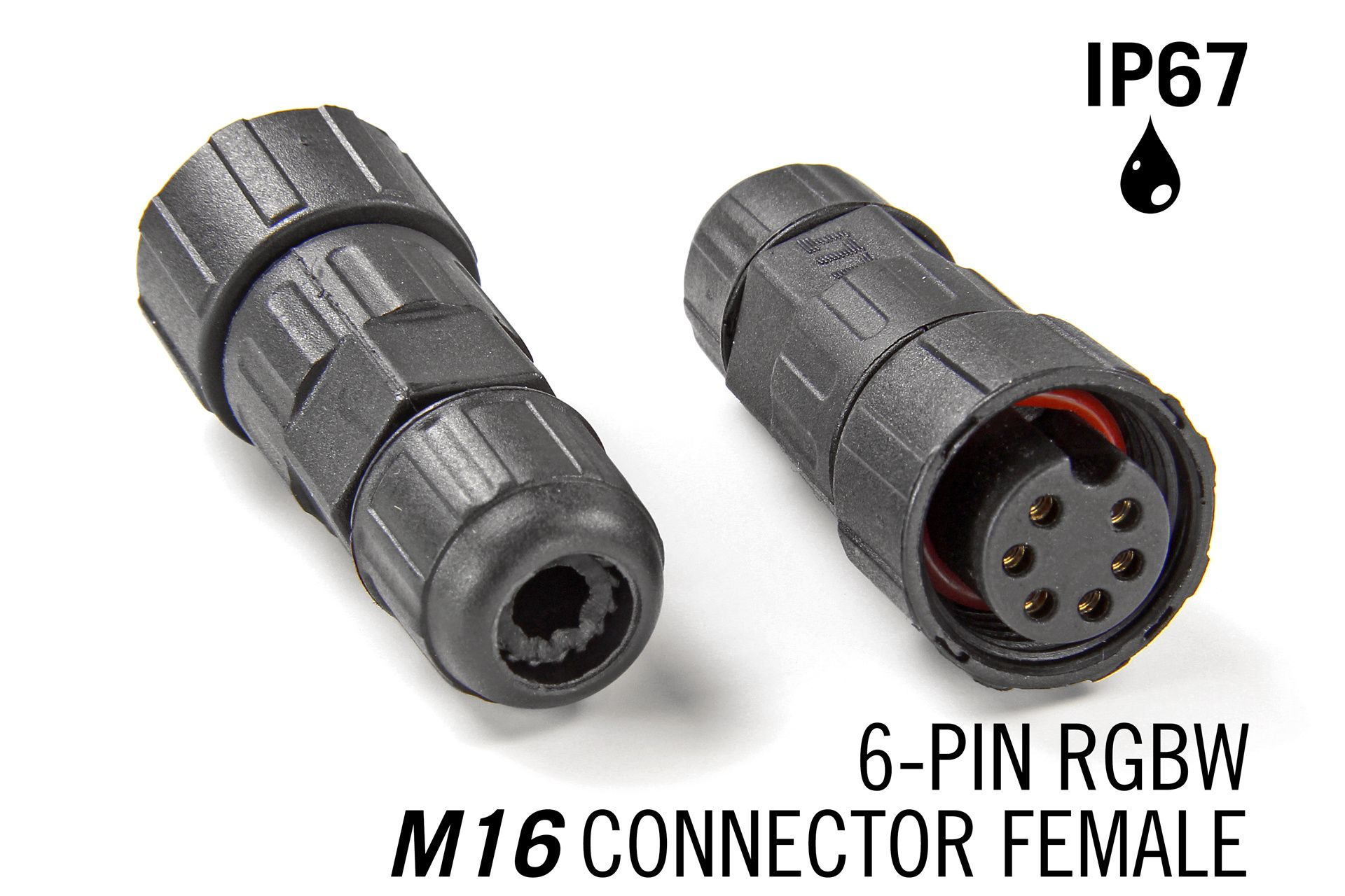 M16 6-pin Female IP67 Waterdichte Connector - RGBCCT