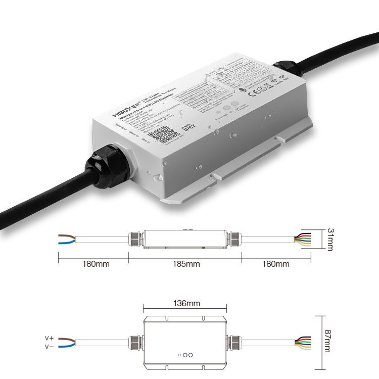 Mi·Light MiLight IP67 Waterdichte LEDstrip Controller | 12~24V 20A | WiFi en Remote | WL5-WP