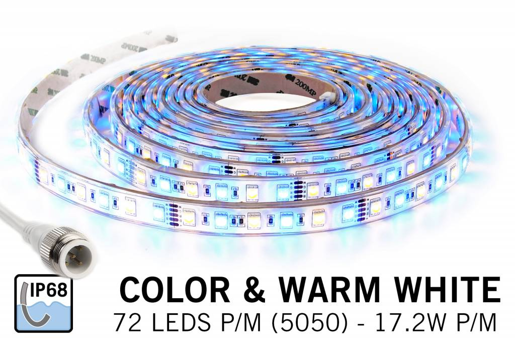 RGB & Warm Wit IP68 Waterdicht Led Strip | 72 Leds pm Type 5050