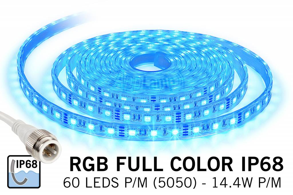RGB IP68 Waterdicht Led Strip | 5m 60 Leds pm Type 5050 Losse Strip