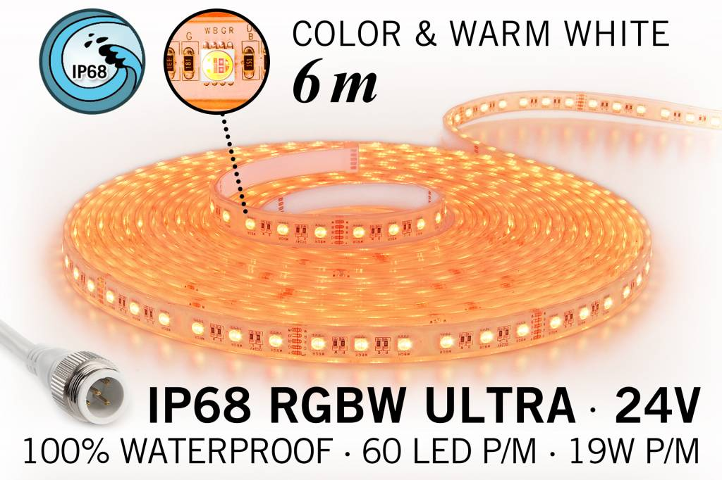 RGB & Warm Wit IP68 Waterdicht Ultra 4 in 1 Led Strip | 6m 60 Leds pm 24V