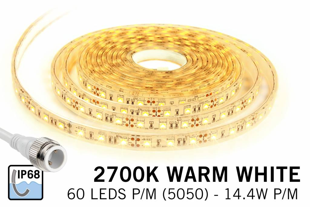 Warm Wit IP68 Waterdicht Led Strip | 60 Leds pm Type 5050 Losse Strip