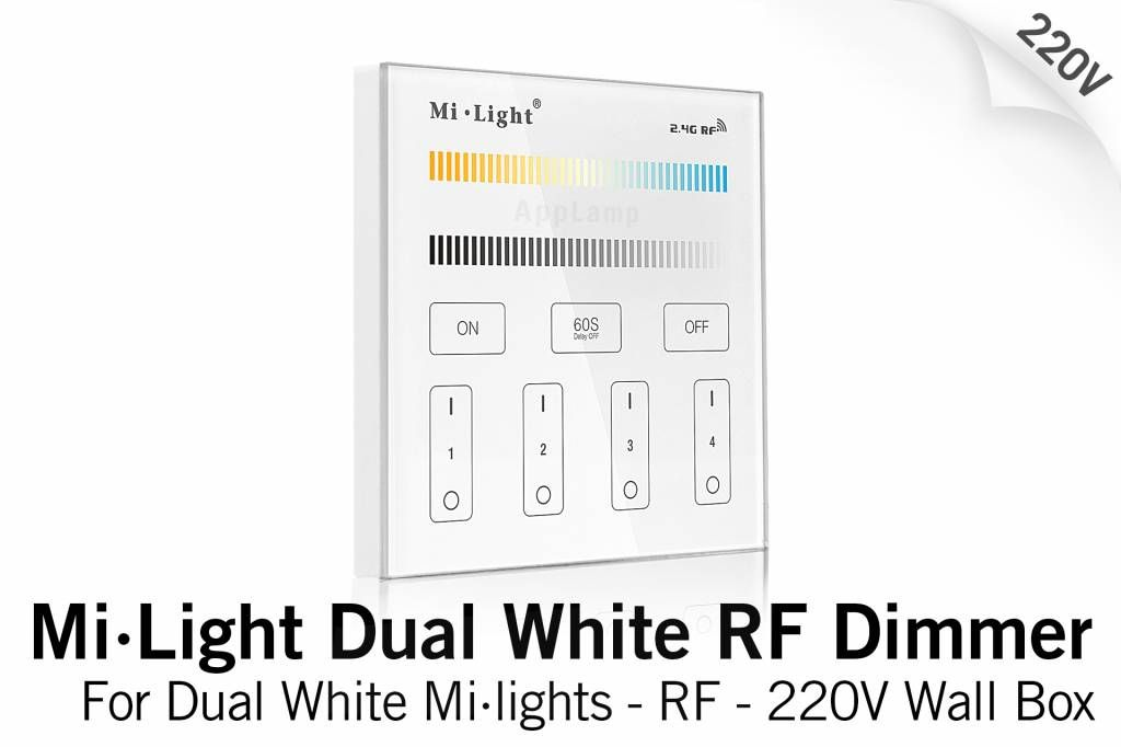 MiLight MiLight Inbouw Dual White RF Touch Dimmer Paneel 4-kanaals, 220V
