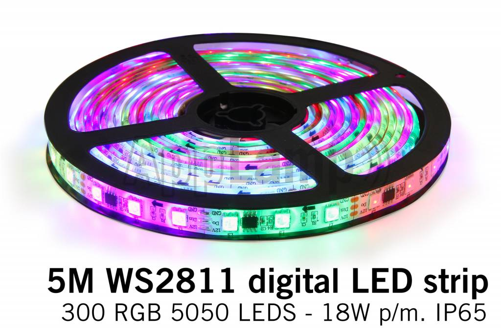 Dream Color WS2811 RGB Digital LED strip 5 meter, 60 leds p.m. type 5050 12V IP65