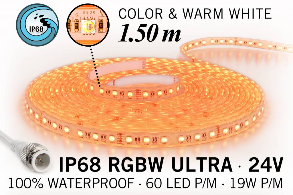 IP68 Waterdichte RGBW ULTRA Ledstrip,90 ULTRA Led's, 24 Volt, 1.50 m