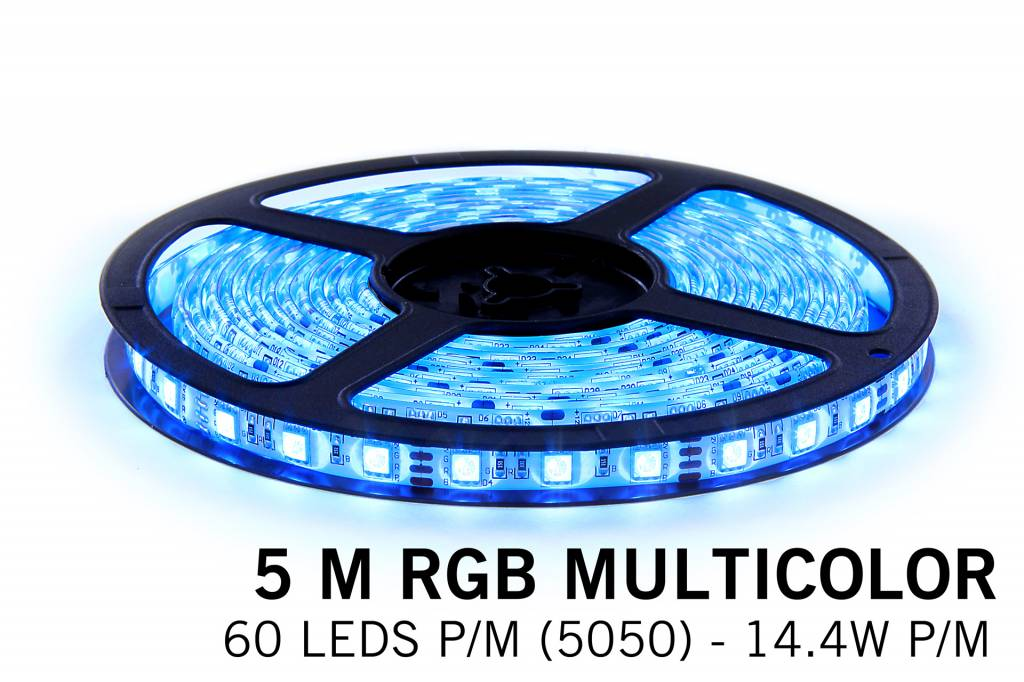 RGB LED strip 5 meter, 60 leds p.m. type 5050 12V