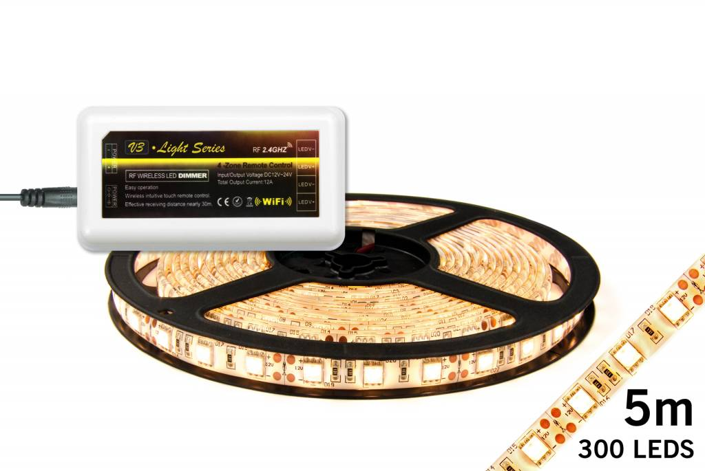 LED strip set Warm Wit 300 leds 72W 12V 5M (uitbreiding)