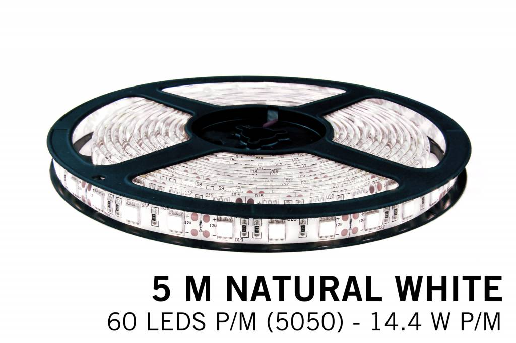 Neutraal witte LED strip 60 leds p.m. - 5M - type 5050 - 12V - 14,4W/p.m