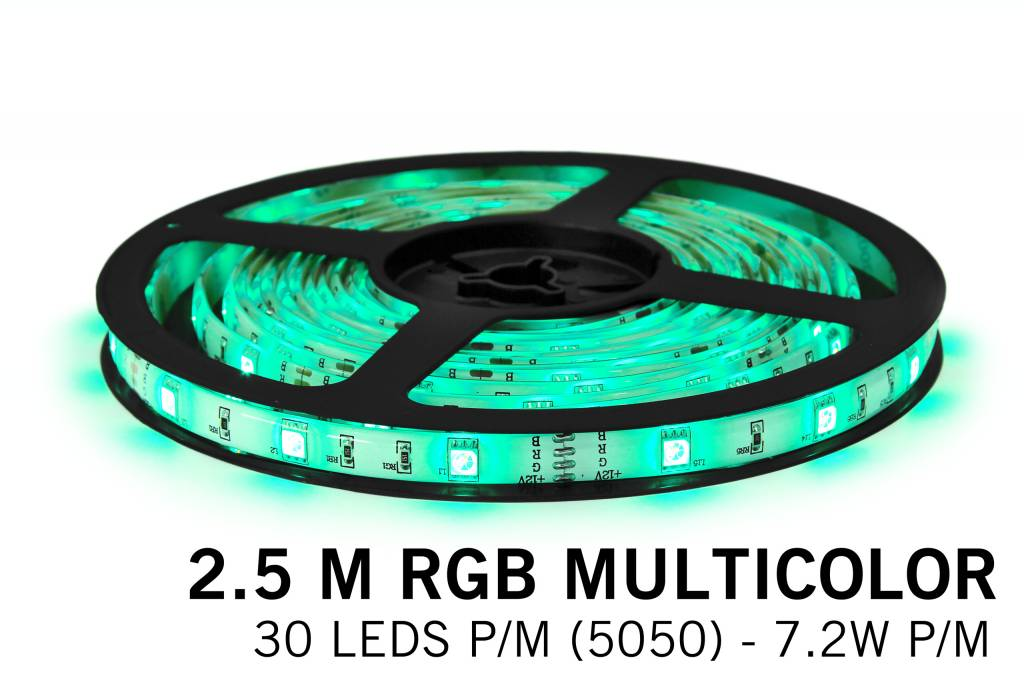RGB LED strip 2.5 meter, 30 leds p.m. type 5050 12V