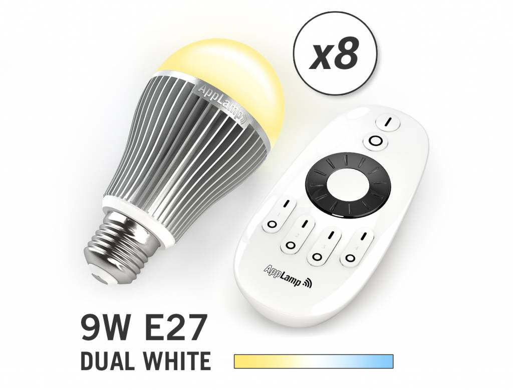 MiLight Set van 8 Dual White 9W LED lampen + Afstandsbediening