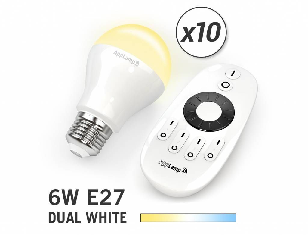 MiLight Set van 10 Dual White 6W LED lampen + Afstandsbediening
