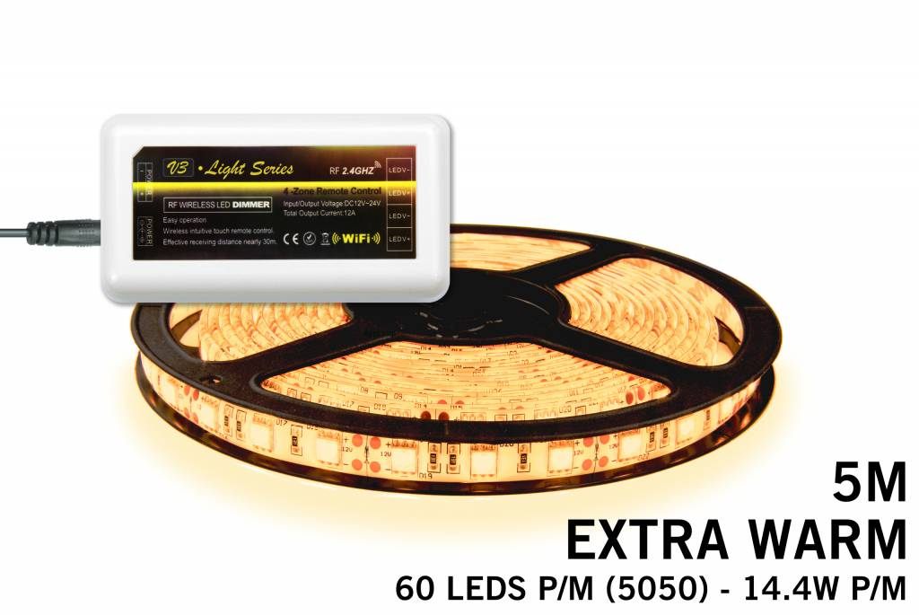 Extra Warm Witte LED strip 300 leds 72W 12V 5M - Uitbreidingsset